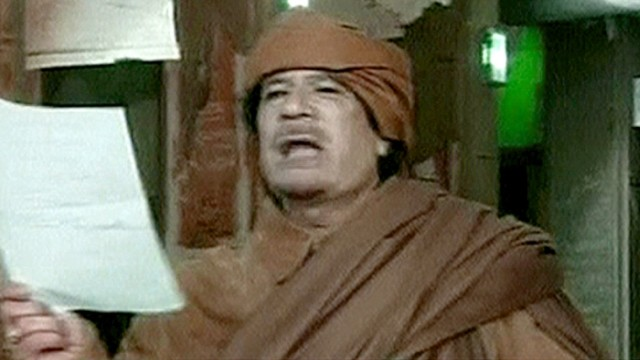 Video grab of Libya's leader Muammar Gaddafi speaking on national television from Tripoli