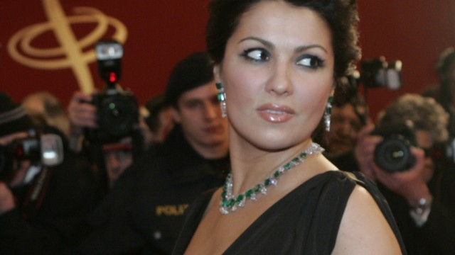Opera singer Netrebko arrives at the opera house for the traditional opera ball in Vienna