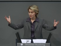 German Labour Minister von der Leyen speaks during debate after Bundestag voted on reform of minimum jobseekers allowance Hartz IV in Berlin