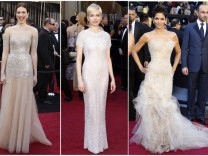 Combination photo of actors Mandy Moore, Michelle Williams and Halle Berry arriving at the 83rd Academy Awards in Hollywood
