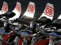 Rental bikes of German railway Deutsche Bahn AG are seen downtown Frankfurt