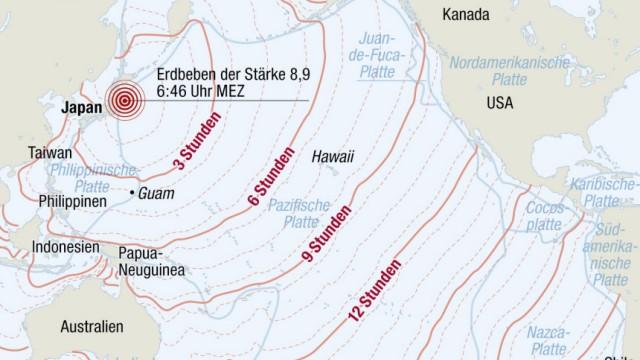 Tsunami Erdbeben Japan Pazifik Anrainerstaaten Ankunft Flutwelle Asien Australien Amerika Südamerika Hawaii bearbeitet ohne Rahmen