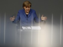 German Chancellor Merkel makes point during speech at German Bundestag in Berlin