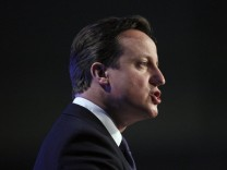 Britain's Prime Minister Cameron addresses delegates at the Scottish Conservative Party spring conference in Perth, Scotland