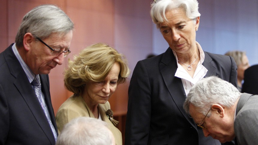 Christine Lagarde, Wolfgang Schaeuble, Jean Claude Juncker, Giulio Tremonti, Elena Salgado
