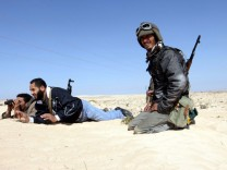 Libyan anti-government forces near Ajdabiya