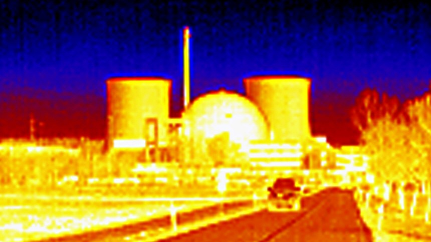 File photo taken with a thermal camera shows the shut down nuclear power plant in Biblis