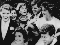 Kennedy siblings are pictured at the wedding reception of Jacqueline Bouvier to John F. Kennedy in this picture taken in Hammersmith Farm Newport Rhode Island