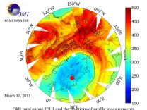 An image of total ozone column profile around the North Pole