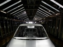 The body of a Skoda Fabia car is seen in the welding shop of the Skoda Auto Car factory in Mlada Boleslav