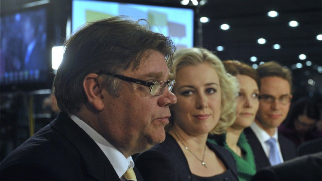 Chairman Timo Soini of the True Finns is interviewed during the Finnish parliamentary elections media reception at the Helsinki Music Centre in Helsinki