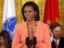 Michelle Obama speaks during the launch of 'Joining Forces' at the White House in Washington,