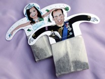Souvenir teabags with depictions of Britain's Prince William and Kate Middleton are seen in London