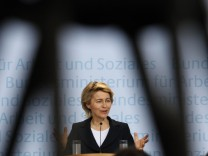 German Labour Minister von der Leyen addresses news conference in Berlin