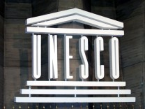 UNESCO LOGO SEEN DURING THE OPENING CEREMONY OF THE 31ST GENERAL CONFERENCE IN PARIS