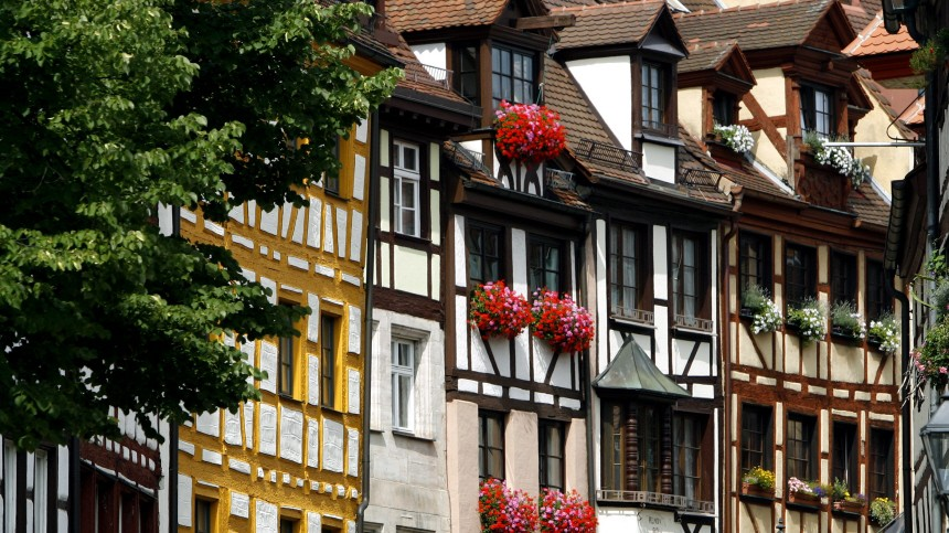 Fachwerkhaus-Fassaden in Nürnberg