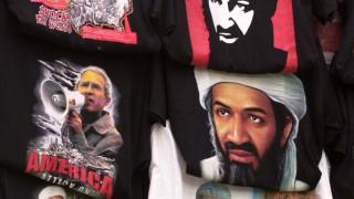 T-Shirts mit Bildern von Bin Laden, George Bush und Terroranschlag in Hongkong