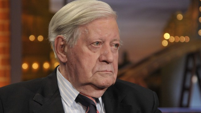 Former German chancellor Schmidt is pictured shortly before recording of an exclusive TV-interview in ARD Talkshow 'Beckmann' in Hamburg