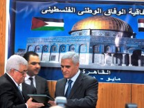 Ceremony of reaching agreement between Fatah and Hamas in Egypt
