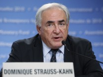 IMF Managing Director Strauss-Kahn speaks at the Development Committee news conference in Washington