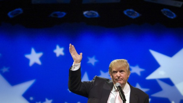 File photo of real estate magnate and television personality Donald Trump waving after speaking to a group of Republican organizations in Las Vegas