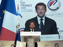 France's President Nicolas Sarkozy addresses the eG8 forum in Paris