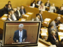 Kretschmann, Prime Minister of German state of Baden-Wuerttemberg holds government policy statement in Stuttgart