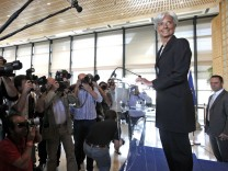 France's Finance Minister Christine Lagarde announces her candidacy to head the IMF during press conference in Paris