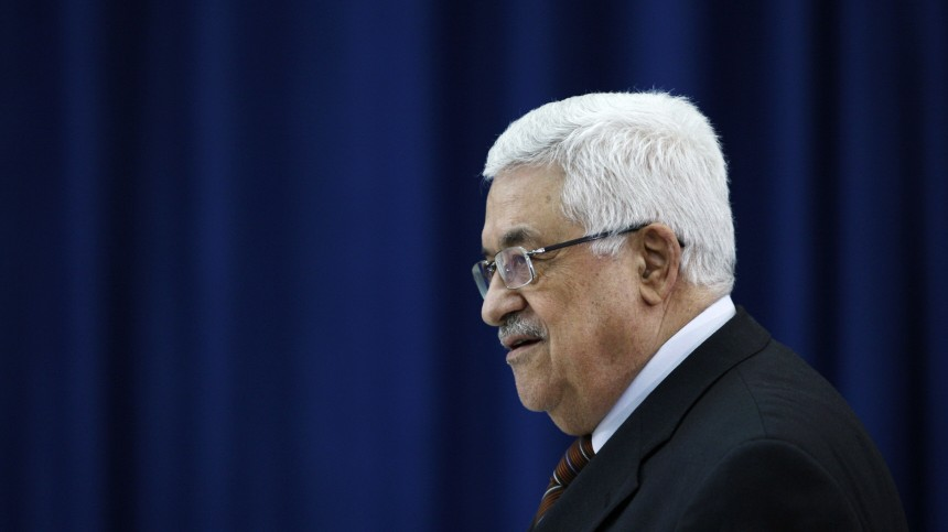 Palestinian President Abbas arrives at a meeting of the PLO in Ramallah