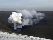 Picture shows smoke from the Grimsvotn volcano, under the Vatnajokull glacier in southeast Iceland
