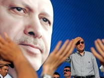 Turkey's Prime Minister Tayyip Erdogan is in a campaign event for