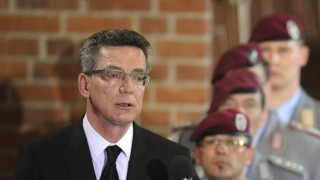 German Defence Minister de Maiziere speaks during the funeral service in Epiphaniaskirche (Epiphany church) for the three German soldiers killed last week in Afghanistan, in Hanover