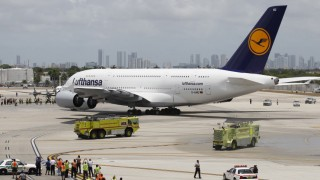A Lufthansa Airbus A380-800 taxis as it makes its inaugural arrival at Miami International Airport in Miami