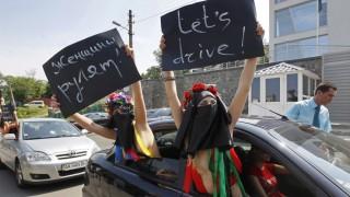 FEMEN activists protest in Kiev