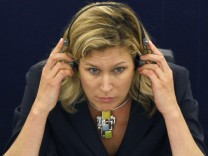 File photo of MEP Koch-Mehrin from Germany attending first session of the EU parliament in Strasbourg
