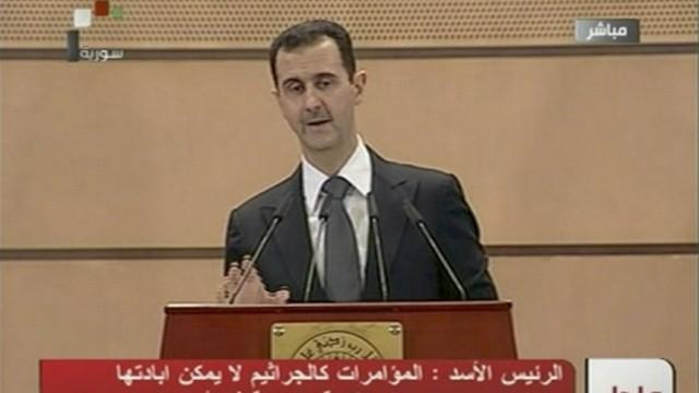 Syria's President Bashar al-Assad speaks in Damascus in this still image taken from video