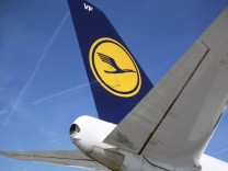 File photo of the tail section of a Deutsche Lufthansa passenger jet in Frankfurt