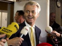 Dutch right-wing politician Geert Wilders of the Freedom Party leaves a courtroom in Amsterdam