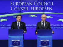 EU Commission President Barroso and EU Council President Van Rompuy brief the media during an EU leaders summit in Brussels