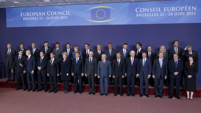 European Union leaders pose for a family picture during a summit in Brussels