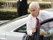 Greek PM Papandreou arrives at  an European Union leaders summit in Brussels