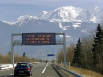 File photo of autoroute leading to the mountains in Chamonix in the region of Annecy in the French Alps