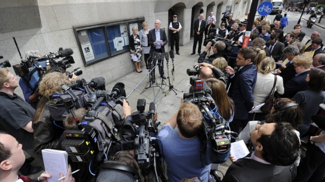 The family of Milly Dowler make a statement to the media outside The Old Bailey courthouse in London