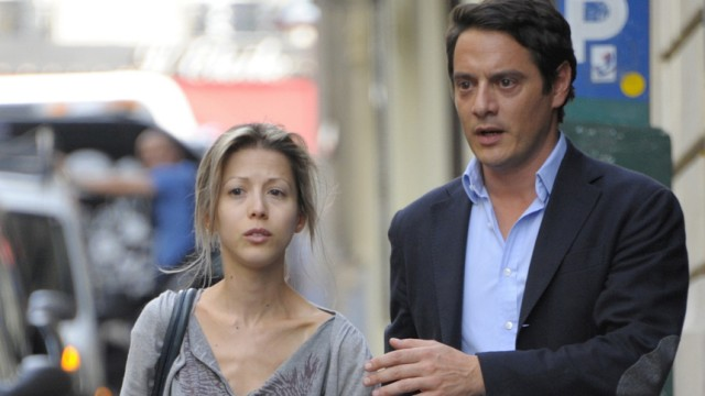 Writer Tristane Banon walks with her lawyer David Koubbi as they leave his office in Paris