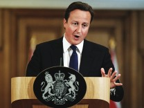 Prime Minster David Cameron Holds Press Conference