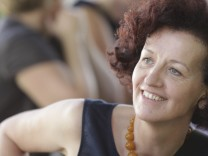 Austrian writer Haderlap enjoys a break during the annual Festival of German Language Literature in Klagenfurt