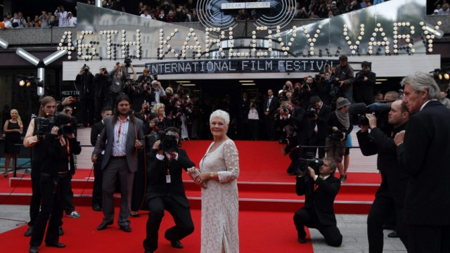 British actress Judi Dench arrives at the opening ceremony of the 46th Karlovy Vary International Film Festival in Karlovy Vary