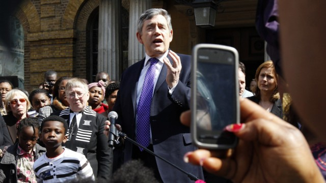 File photo shows Britain's Prime Minister Gordon Brown speaking outside Wesley's Chapel in London
