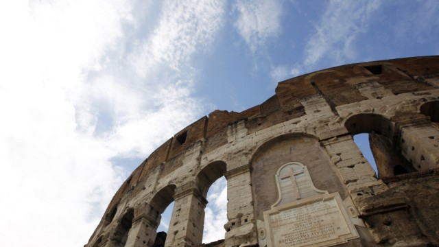 A view of the exteriors of Rome's ancient Colosseum