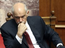 Greece's Prime Minister George Papandreou attends a parliament session in Athens